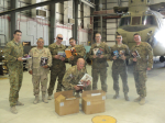 Picture from troops receiving books.